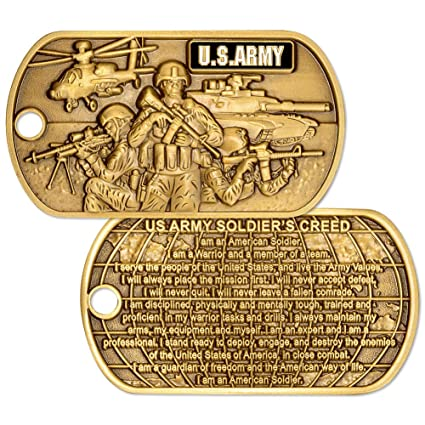 6d7790a9 Amazon.com: U.S. Army Soldiers Creed Dog Tag with Chain: Toys & Games