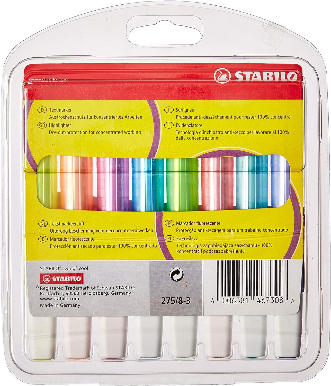 Marcador fluorescente STABILO swing cool - Estuche con 8 colores ...