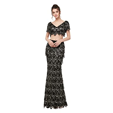 41089c9fca3be Amazon.com: Maricopyjam Women's Luxury Beaded Two Piece Long Prom ...