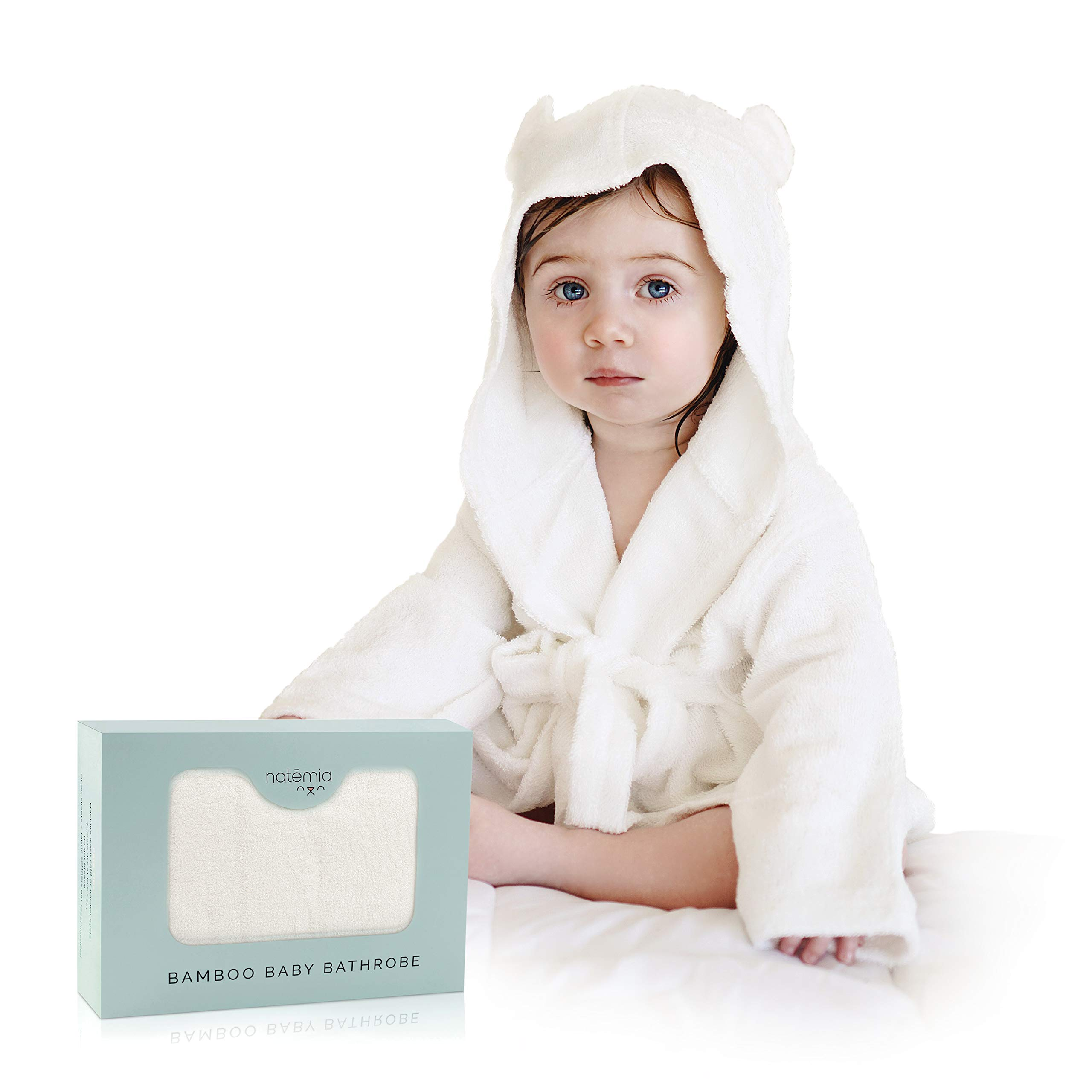 Extra Soft Bamboo Hooded Bathrobe For Kids by Natemia | Super Absorbent and Hypoallergenic | Ideal Baby Registry Gift