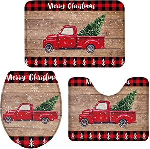 3 Piece Bath Rug Sets, Christmas Truck with Xmas Trees Red Black Buffalo Plaid Bathroom Mats Set for Christmas Decorations, Non Slip,Water Absorbent U-Shaped Contour Toilet Mat, Toilet Lid Cover