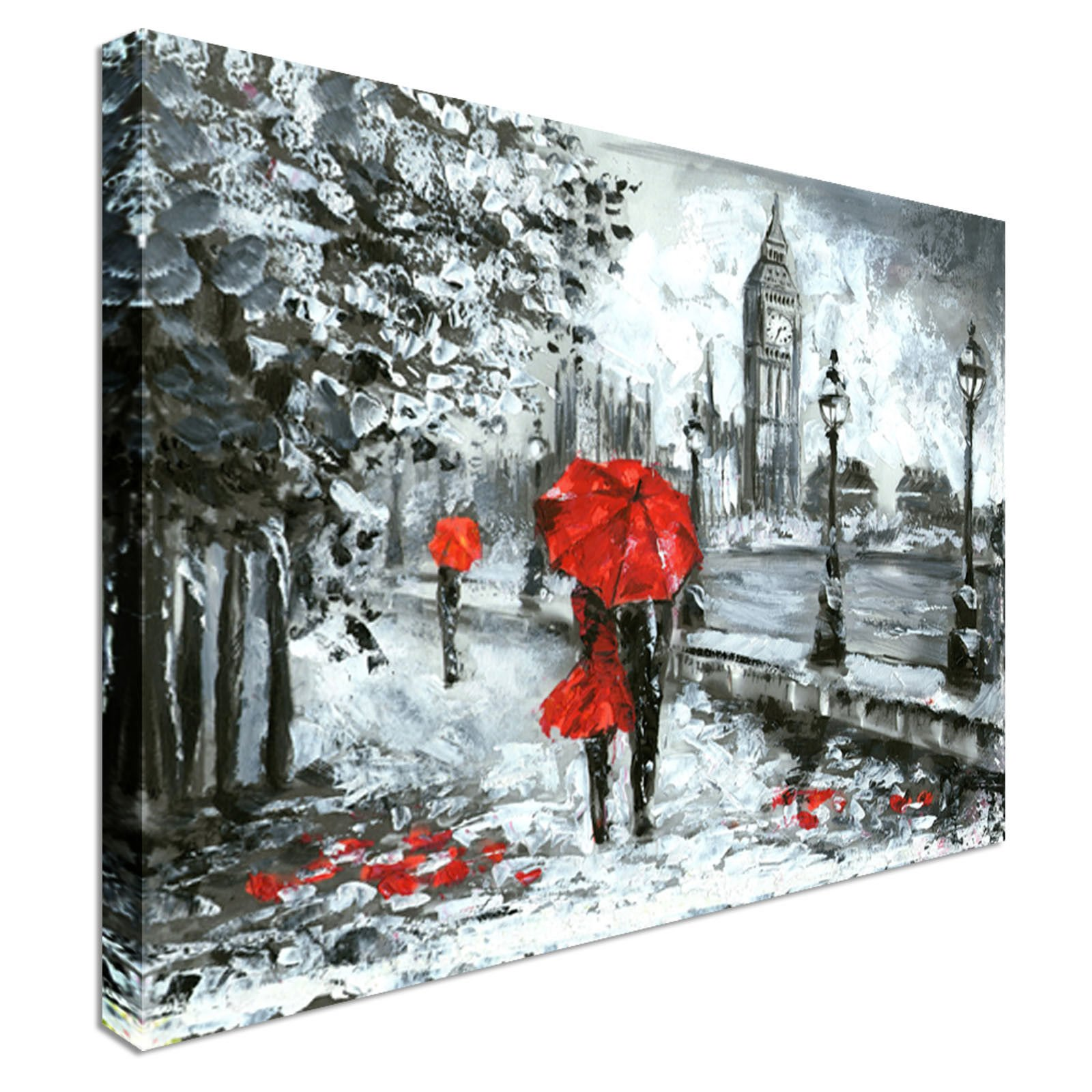 London Lovers Red Grey | 12x16 Canvas Wall Art Print - Long Lasting Wooden Frames