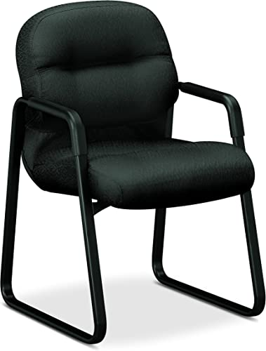HON Pillow-Soft Guest Chair with Fixed Arms, Charcoal