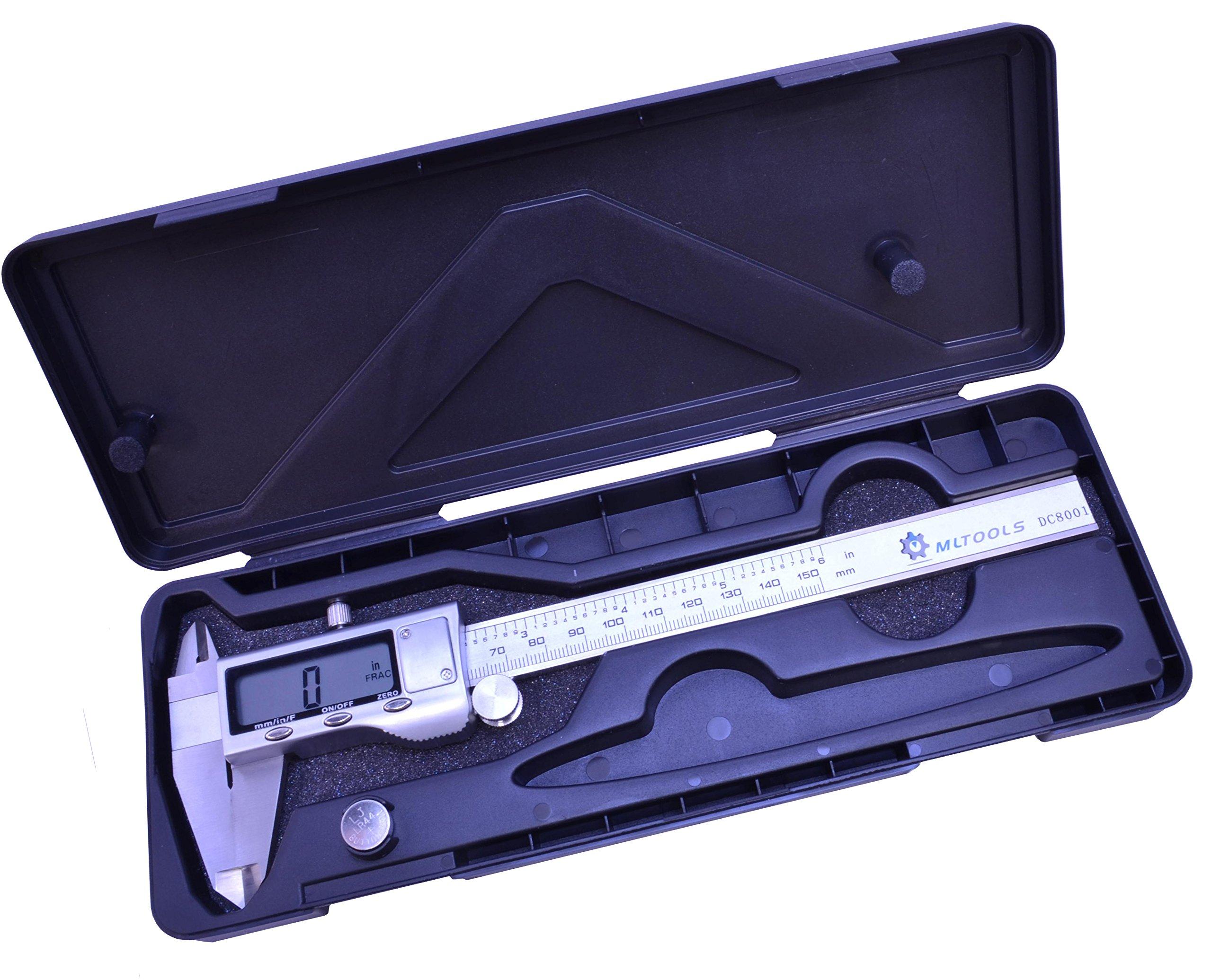 Digital Caliper | 6 inch Precision Caliper | Stainless Steel Digital Caliper | Metric, Fractions & inch 3 in 1 Caliper | DC8001