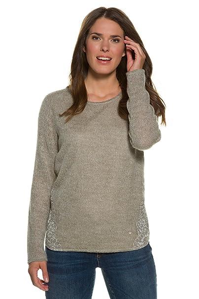 GINA LAURA Damen Sweatshirt mit Spitze Große Größen: GINA