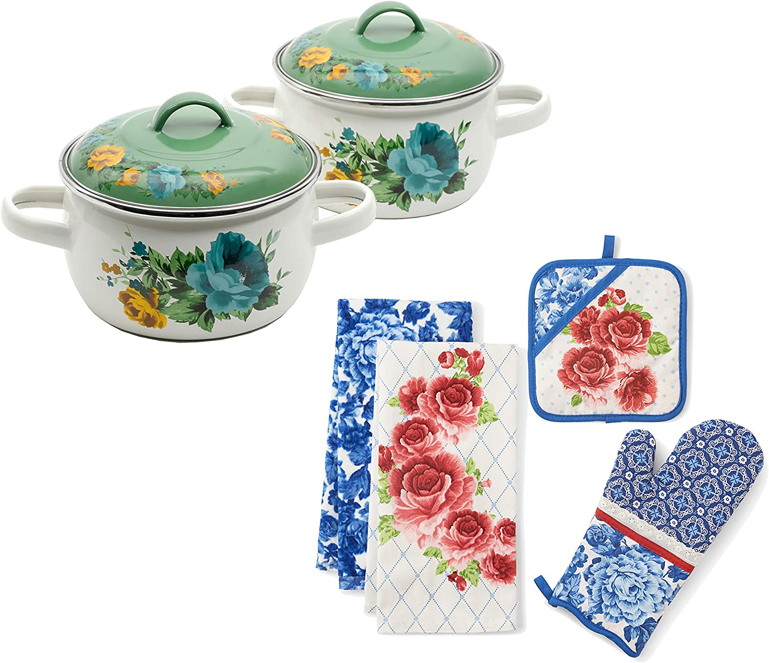 The Pioneer Woman 1-Quart Mini Dutch Ovens, Set of 2, Shadow Rose Mint bundle with The Pioneer Woman Heritage Floral Kitchen Towel, Oven Mitt, and Pot Holder, Set of 4