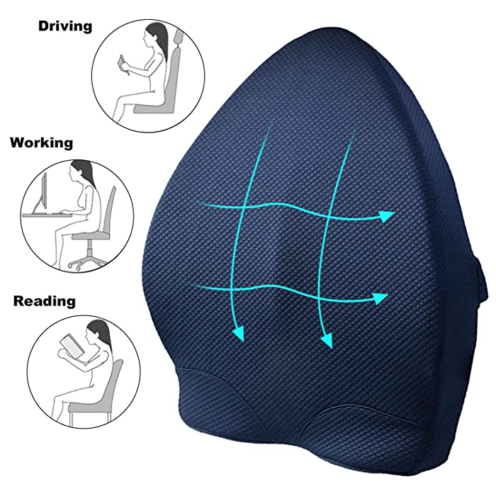 aag Memory Foam Lumbar Support Back Cushion,Ergonomic 3D Ventilative Mesh Lumbar Support Pillow,Orthopedic Design for Lower Back Pain Relief,Adjustable Straps for Car,Recliner or Office Chair