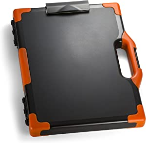 Officemate OIC Carryall Clipboard Storage Box, Letter/Legal Size, Black and Orange (83326)