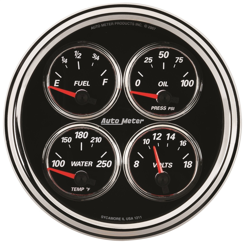 Auto Meter 1224 Designer Black 5'' 0-90 Ohm Quad Fuel Level Gauge by Auto Meter