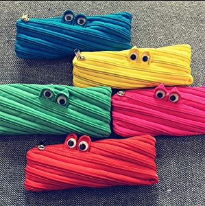 Jshend Colorful Polyester Storage Bag Marker Pen Pencil case Makeup Pen Cosmetic Bag Middle School Office Female College Student Simple Stationery Bag Portable Fashion Pencil case (Yellow)