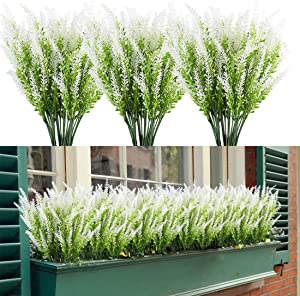 HAPLIA 8 Bundles Artificial Lavender Flowers with Silk Flowers for Wedding Decor Bouquet Indoor Outdoor Home Kitchen Office Table Centerpieces Arrangements Christmas (White)