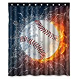 ZHANZZK Baseball Waterproof Bathroom Shower Curtain 60x72 Inches