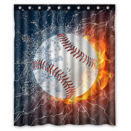 Amazon ZHANZZK Baseball Waterproof Bathroom Shower Curtain