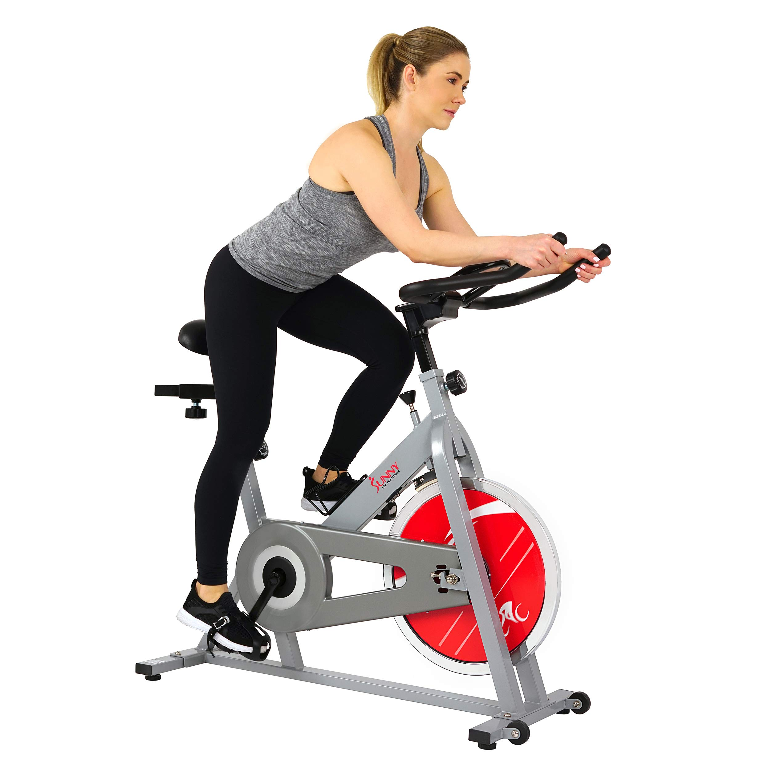 Sunny Health & Fitness SF-B1001S Indoor Cycling Bike, Silver by Sunny Health & Fitness (Image #1)