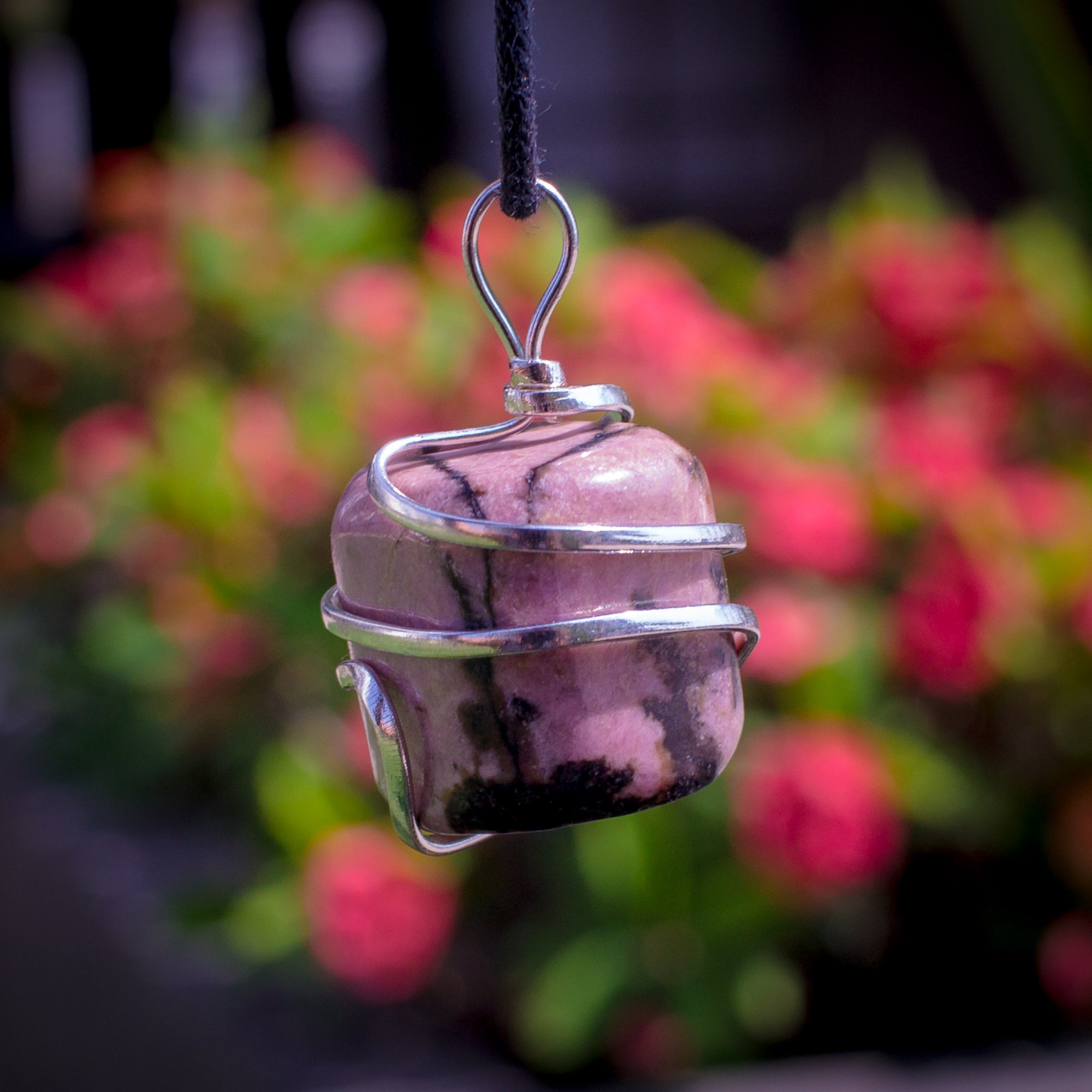 Rhodonite Crystal Pendant Necklace – Compassion Forgiveness Release of Fear Emotional Healing Heartbreak Relationships - Authentic Stone on Adjustable Length Cord - Real Gemstone Chakra Healing Charm by Ayana Wellness (Image #2)