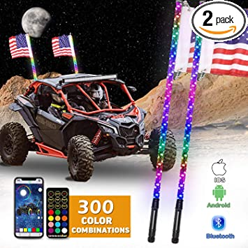 2pcs 4FT//1.2M RGB LED Whip 360° Spiral+Quick Release Remote Control for ORV//Car