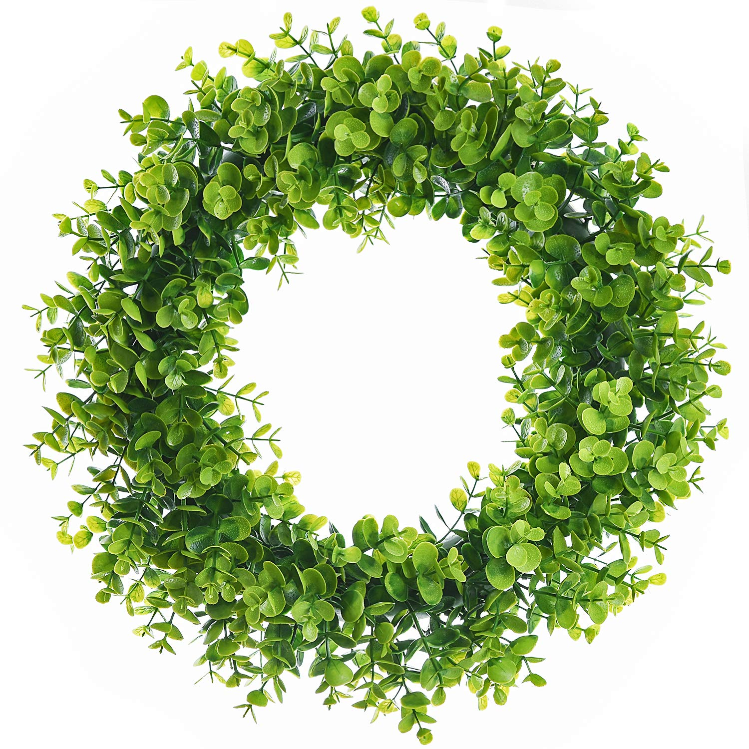 Lvydec Artificial Green Leaves Wreath - 15'' Fake Eucalyptus Wreath Outdoor Green Wreath for Front Door Wall Window Party Décor by Lvydec