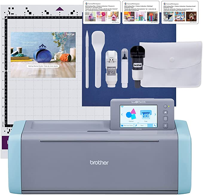 Brother ScanNCut SDX125E Electronic DIY Cutting Machine with Scanner, Make Custom Stickers, Vinyl Wall Art, Greeting Cards and More