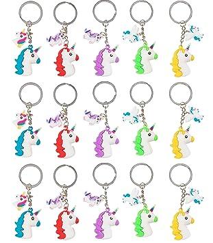 Amazon.com: Llaveros de cabeza de unicornio arcoíris ...