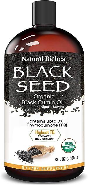 Organic Black Seed Oil USDA Pure Premium Quality Black Cumin Seed Oil Nigella Sativa. Glass Bottle - Undiluted, Cold Pressed, No Solvents, Vegan -8 fl oz. Natural Riches