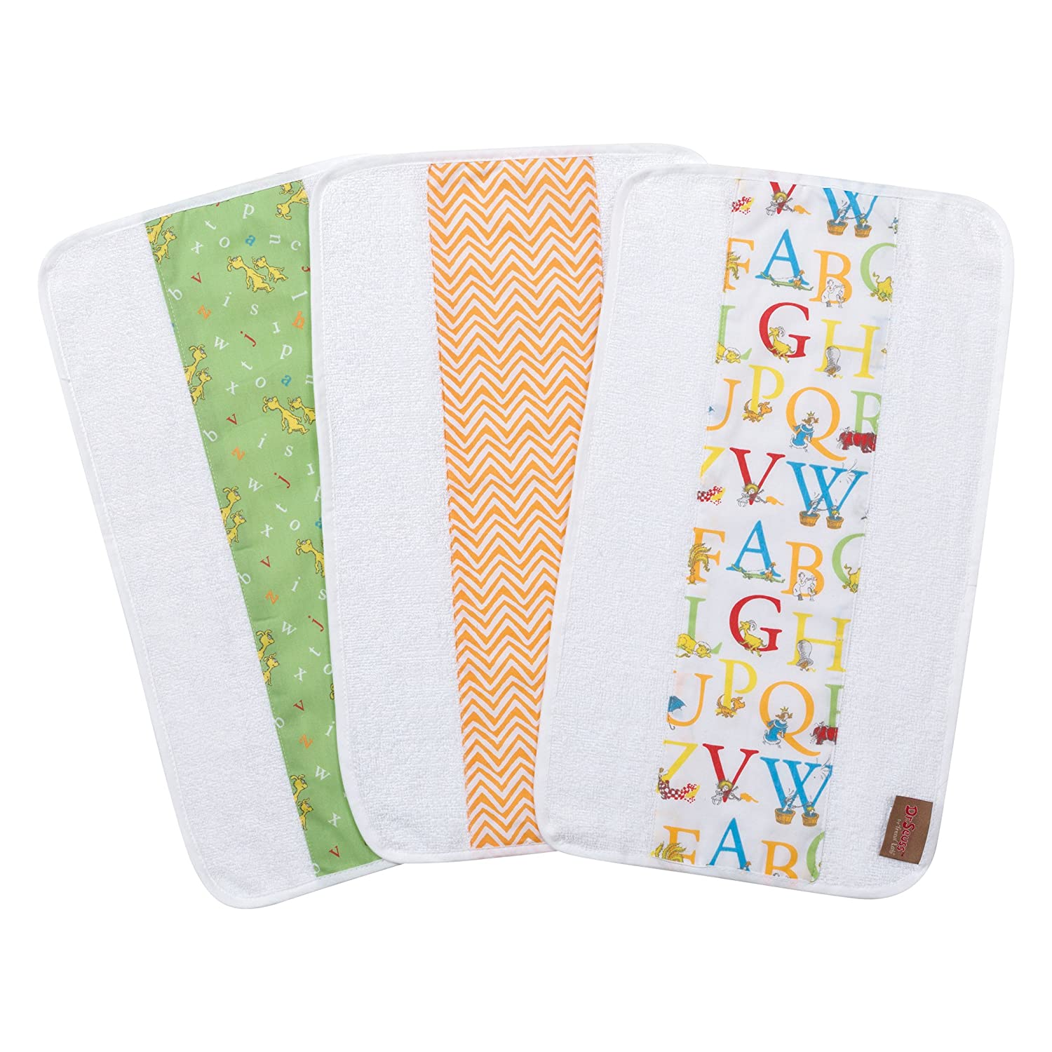 Trend Lab Dr. Seuss by ABC 3 Pack Jumbo Burp Cloth Set, Red, Yellow, Green, Blue, Orange and White 30538