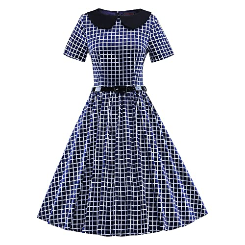 LUOUSE Women's Retro Vintage 1950s 1960s Short Sleeve Cocktail Party Swing Dress