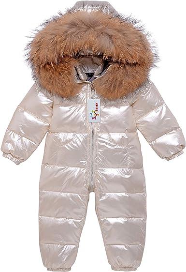 18-24 Months Baby Snowsuit Infant Hooded Romper Winter Jumpsuit Zipper Front