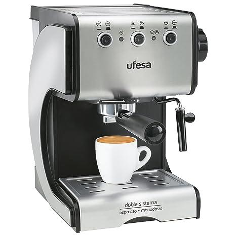 Ufesa CE7141 Duetto Creme - Cafetera Expresso, 1050W, 15 Bares Presión, Acero Inoxidable