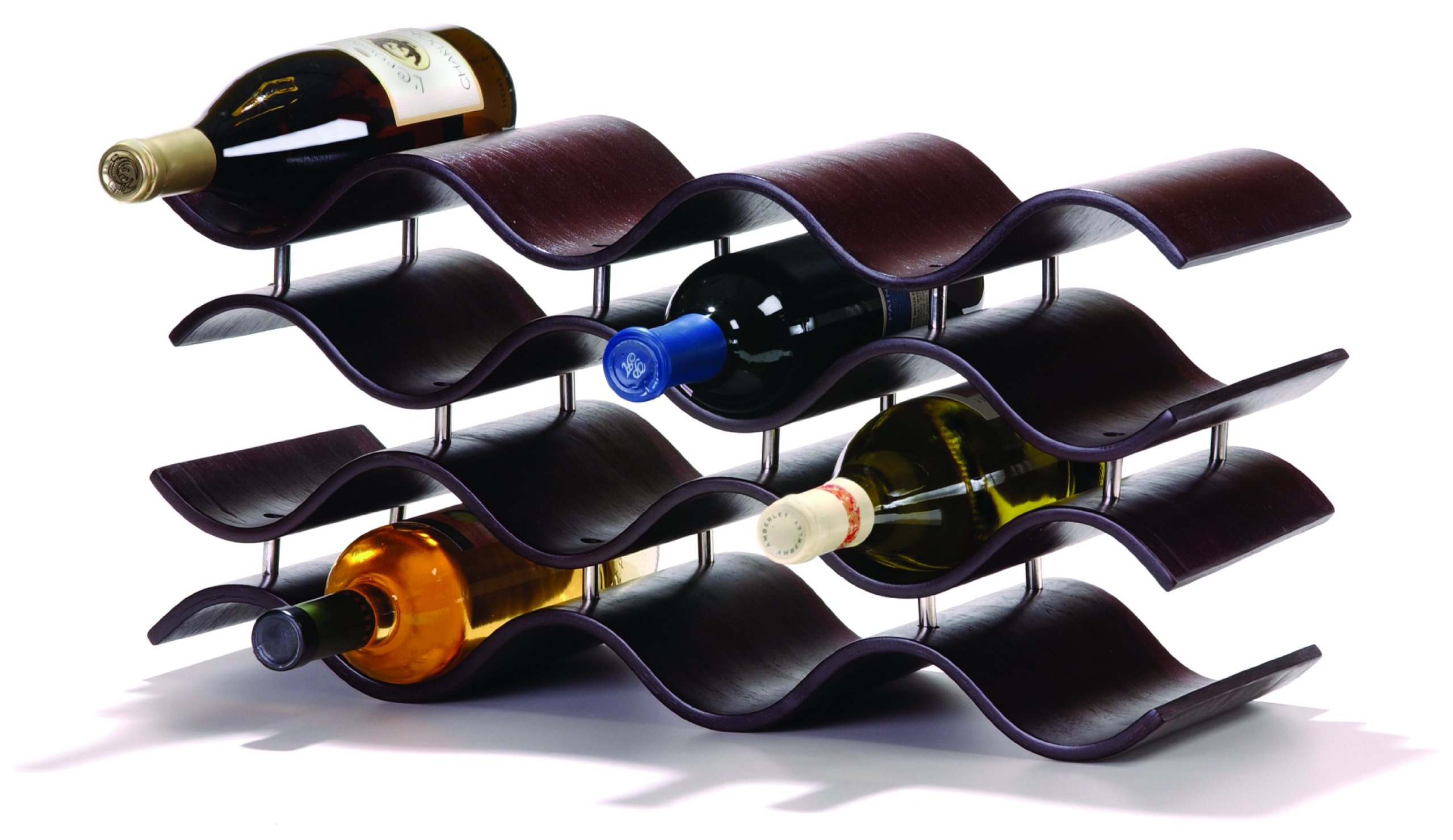 Oenophilia Bali Wine Rack, Ebony - 12 Bottle, Solid Wood, Elegant Modern Wine Rack, Table Wine Storage (010200)