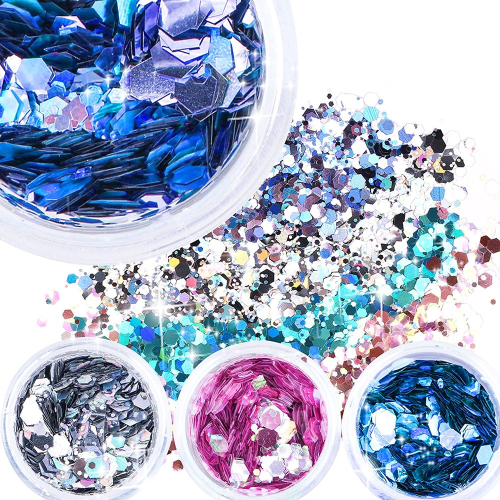 Body Glitter 6 Colors Holographic Chunky Glitter Long Lasting Fix Gel,COSMETIC GLITTER NEKOMI,Festival Beauty Makeup Face Body Hair Nails,Apply directly without glue by Nekomi (Image #3)
