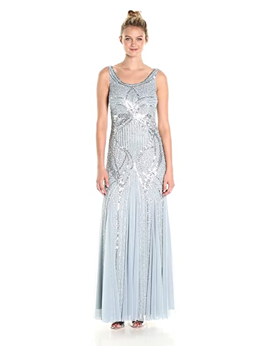 1920s Style Dresses, Flapper Dresses Adrianna Papell Womens Long Beaded Tank Gown $349.00 AT vintagedancer.com