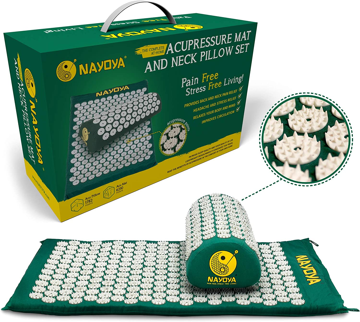 At Home Back and Neck Pain Relief - Acupressure Mat and Neck Pillow Set - Relieves Stress and Sciatic Pain for Optimal Health and Wellness - Comes in a Carry Box with Handle for Storage and Travel: Health & Personal Care
