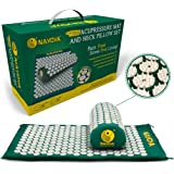 At Home Back and Neck Pain Relief - Acupressure Mat and Neck Pillow Set - Relieves Stress and Sciatic Pain for Optimal Health