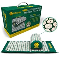At Home Back and Neck Pain Relief - Acupressure Mat and Neck Pillow Set - Relieves...