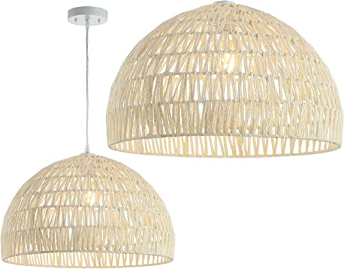 JONATHAN Y JYL6504A Campana 20 Woven Rattan Dome LED Pendant, Scandinavian, Minimalist, Transitional for Kitchen, Living Room, Cream