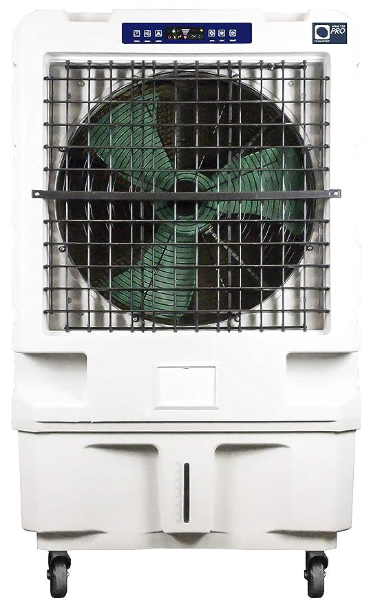 Climatizador Evaporativo MCONFORT Eolus 120 Pro 450W Potencia, Cobert 150 m², MAX Caudal 12000 m³/h 3 Vel.Mando a Distancia. Temporiz. Depósi 50L. Panel Táctil. Pantal led.Filtros Celulosa