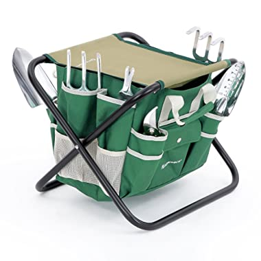 SONGMICS 8 Piece Garden Tool Set Includes Garden Tote Folding Stool and 6 Hand Tools w/ Heavy Duty Cast-aluminum Heads Ergonomic Handles UGGS40L