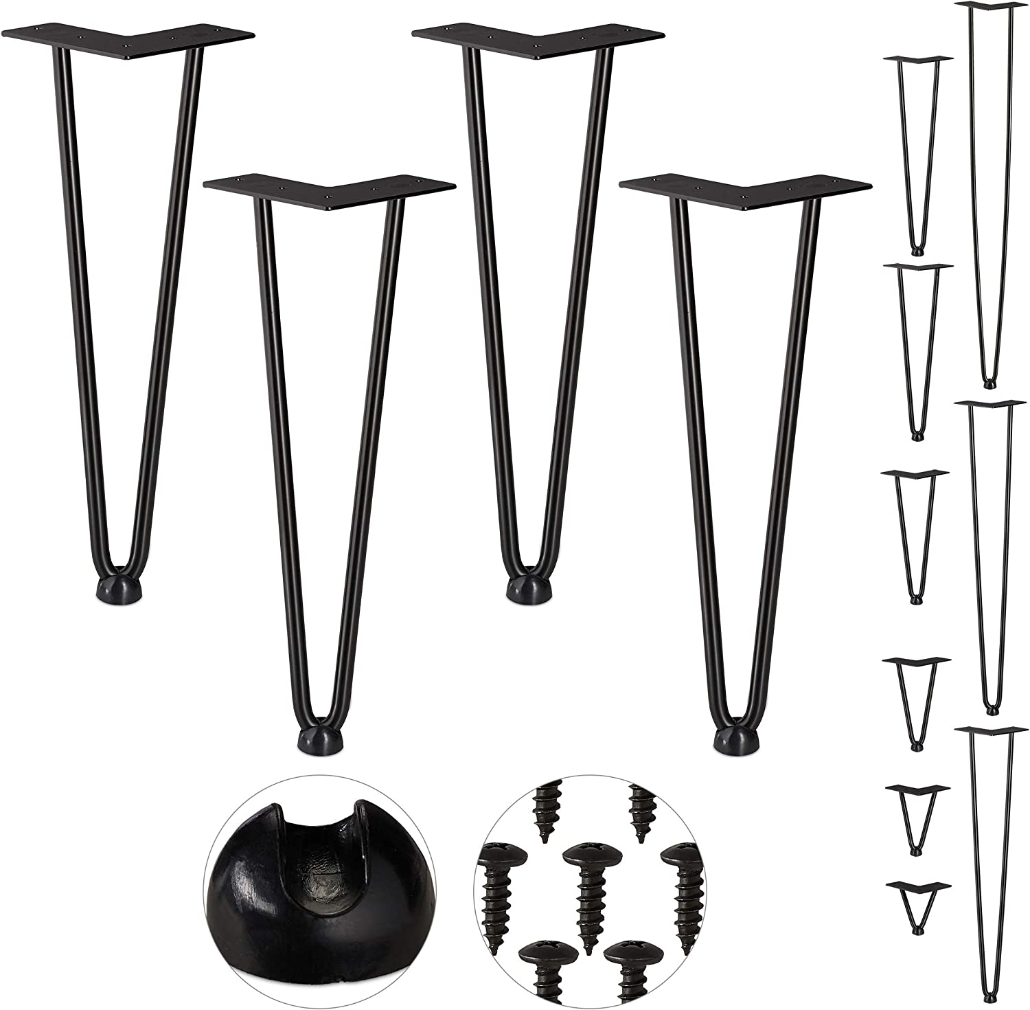 2 Bars steel rubber Table Support for Shelf and Stool Relaxdays Hairpin Legs Metal 36 cm Set of 4 Black
