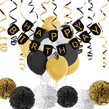 Cerixo Black And Gold Party Decorations With Happy Birthday Banner Balloons For 18th 30th