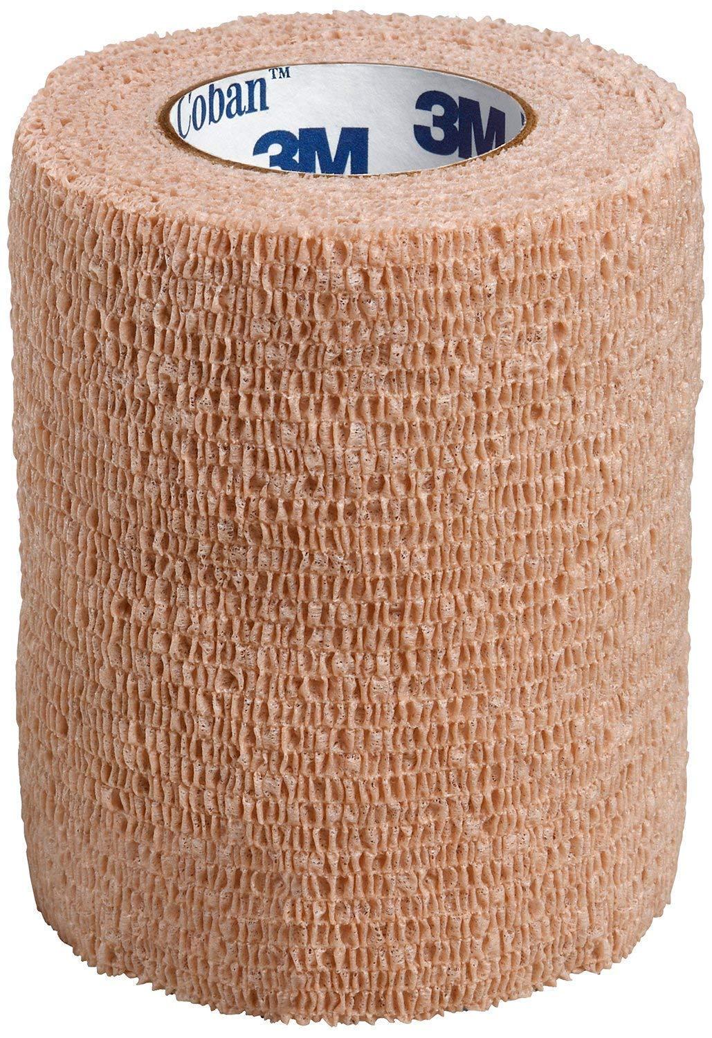 3M Coban Self- Adherent Wrap, 3''x 5yds, Box of 24 Rolls, Tan