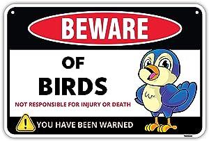 Venicor Beware of Birds Warning Aluminum Sign - 8 x 12 Inches - Great Gag Gift for Bird Fan Lovers - Detailed Cartoon Art Decor - Funny Cute Danger Metal Wall Decoration