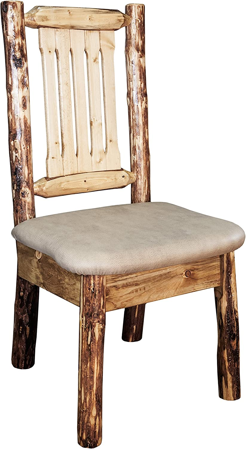 Montana Woodworks Glacier Country Collection Dining Side Chair with Upholstered Seat, Buckskin Pattern