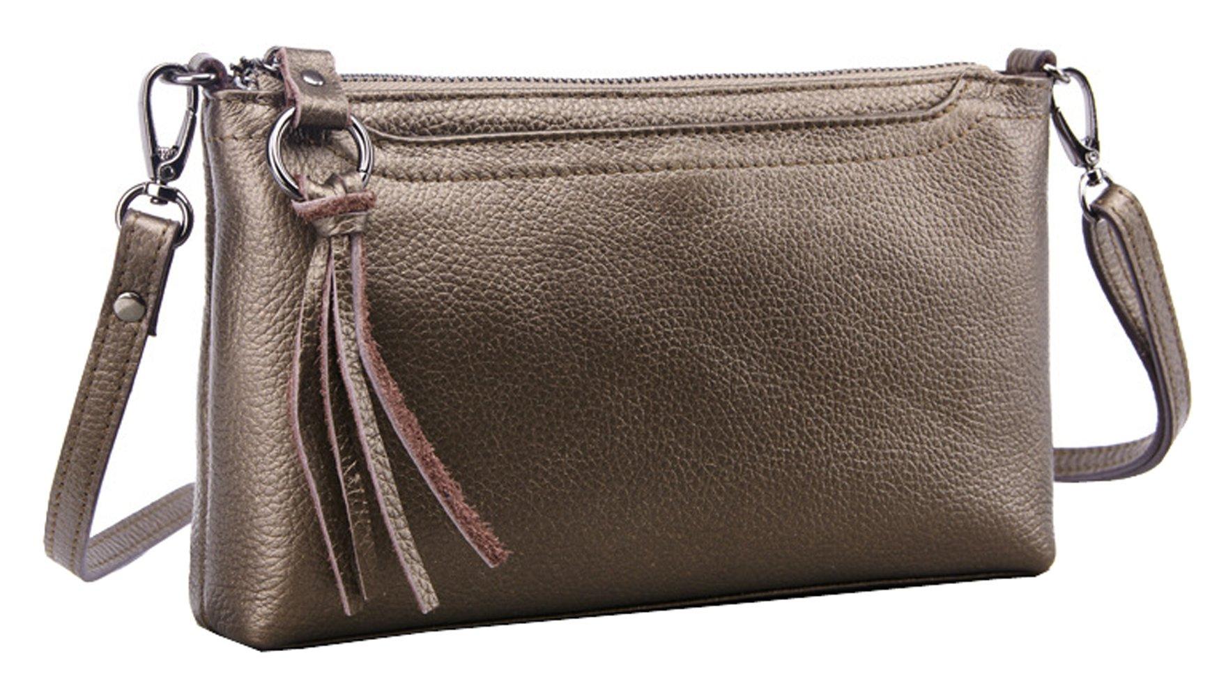 SAIERLONG Women's Retro Ancient Bronze Genuine Leather Small Clutch Shoulder Bag Diagonal Package
