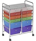 "ECR4Kids 12-Drawer Mobile Organizer, 31.75"" H, Assorted Colors"