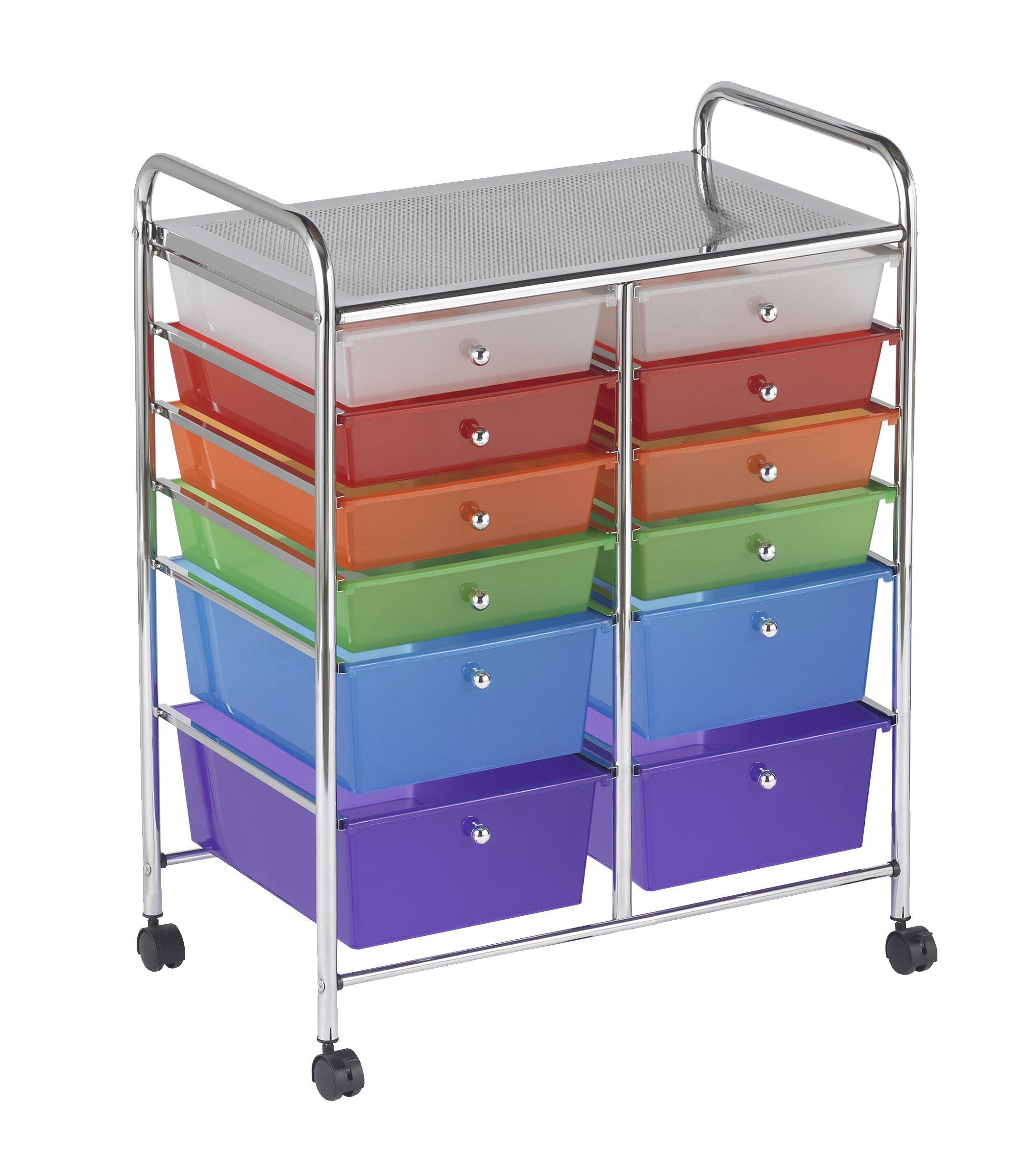 ECR4Kids 12-Drawer Mobile Organizer, 31.75'' H, Assorted Colors