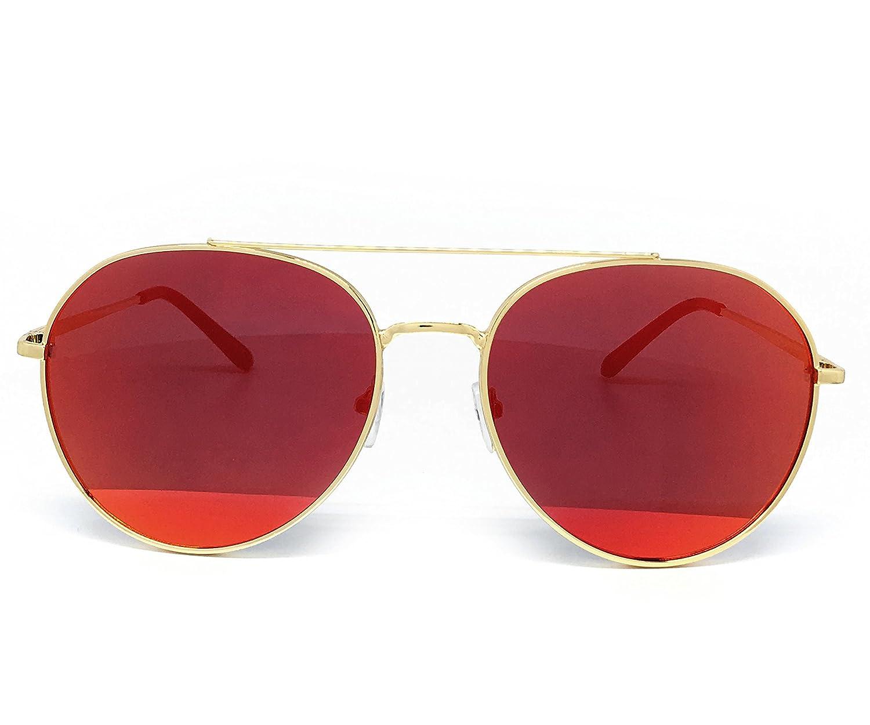 O2 Eyewear P7151 Premium Metal Frame Revo Mirrored Retro fashion Oval Aviator Vintage Sunglasses