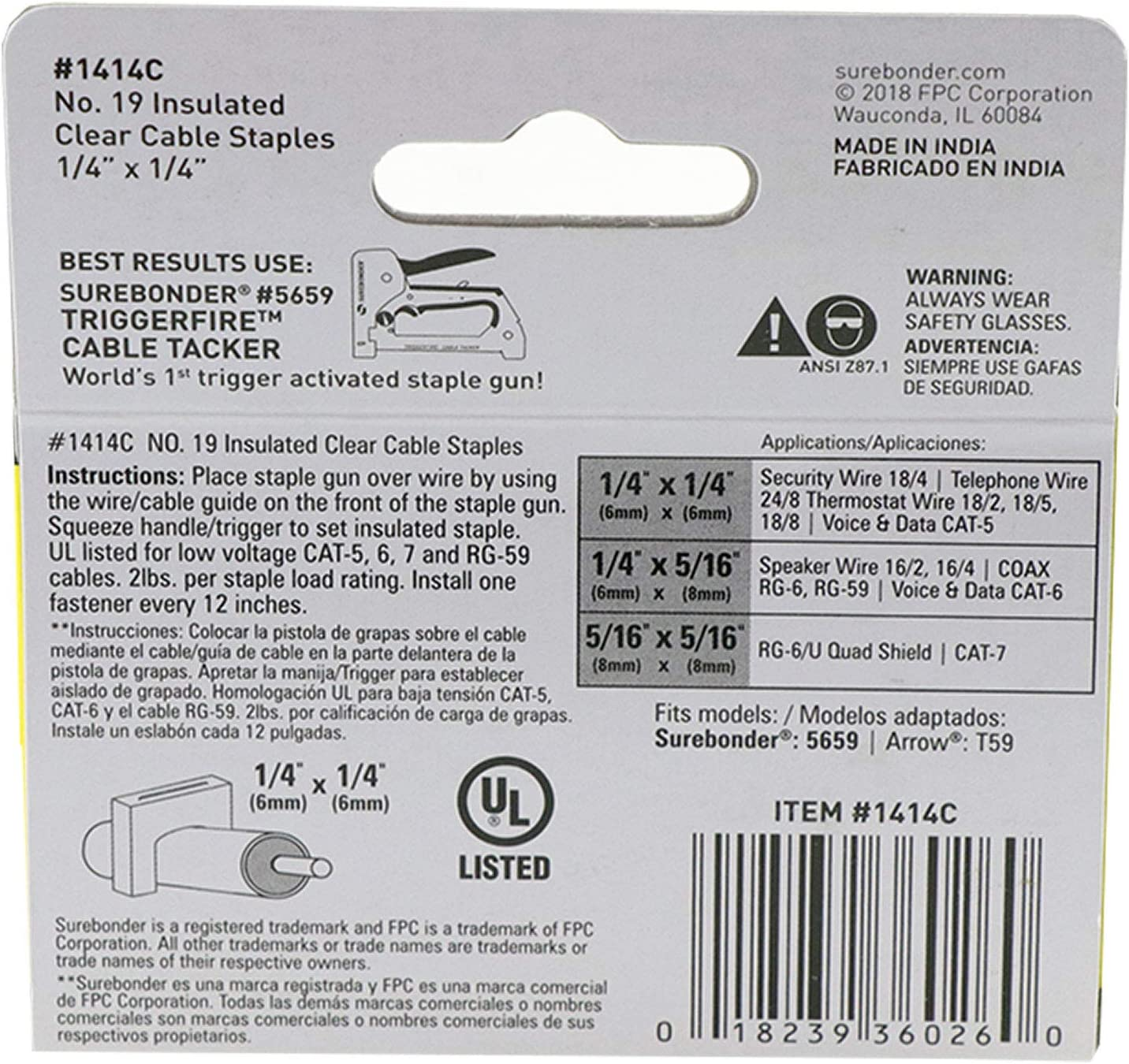 Telephone Wires for Security Thermostat Clear No Surebonder 1414C Cat-5 cable and other wire up to 1//4 wide 300 Pack Insulated Cable Staples 1//4 x 1//4 19