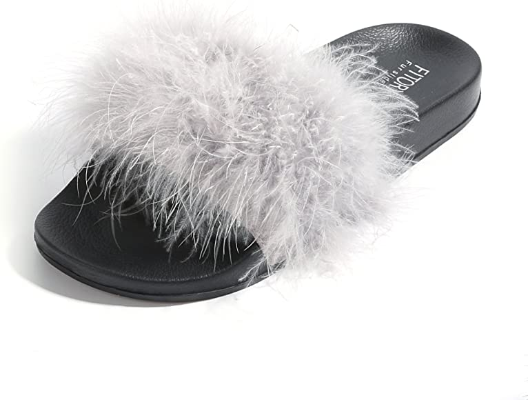 ed56891740be2 FITORY Slides for Womens Faux Fur Fuzzy Slippers with Arch Support in Flats  Sandals Girls Outdoor Indoor Shoes