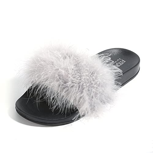 Womens Slides,Arch Support Sandals with Faux Fur Comfort Fuzzy Slipper