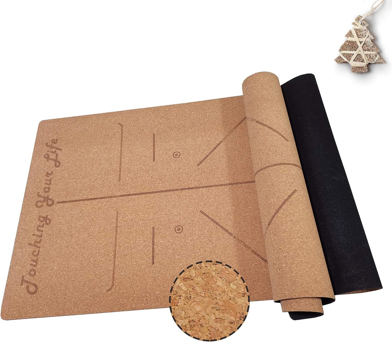 GOLDEN Esterilla Yoga de Corcho y Caucho Natural Antideslizante, Corcho de Partículas Grandes, XL 183 x 66 x 0,4 cm, Esterilla de Deporte